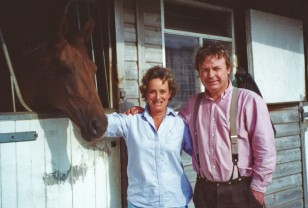 Minette & husband Alec with their racehorse, Dusty Carpet.