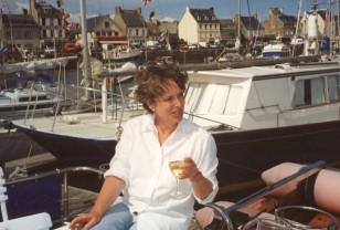Minette relaxing (on her boat during a holiday in Normandy, France).